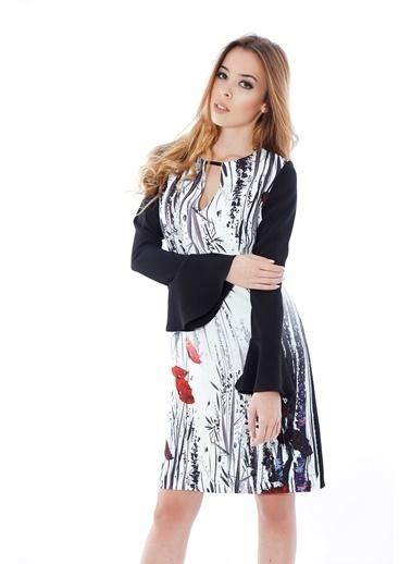 Soie Design İspanyol Kol Çiçekli Elbise Siyah